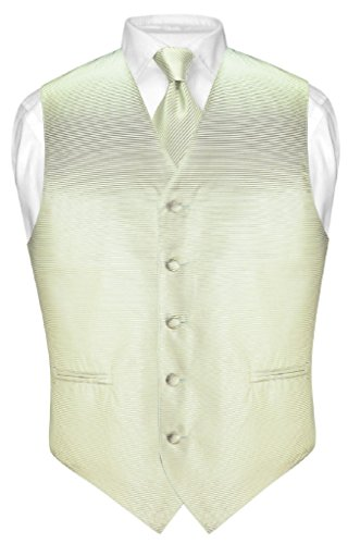 (Vesuvio Napoli Men's Dress Vest & Necktie Sage Green Woven Neck Tie Horizontal Stripe sz M)