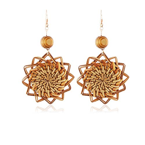 Rattan Drop Hoop Earring Women Handmade Girls Bohemian Wicker Lightweight Stud Summer Earrings SUNFLOWER (Rose Man Sister Wicker)