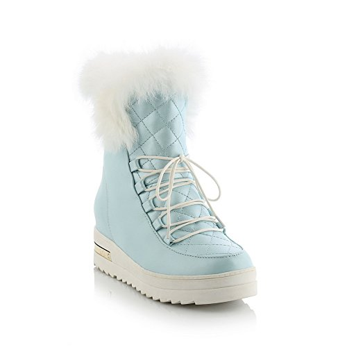 Heel Platform Low Up Lining Strap Womens MNS02075 Cold Warm Boots Fringed Boots Platform Top Weather Lace 1TO9 Kitten Urethane Blue Adjustable 8wBpqE