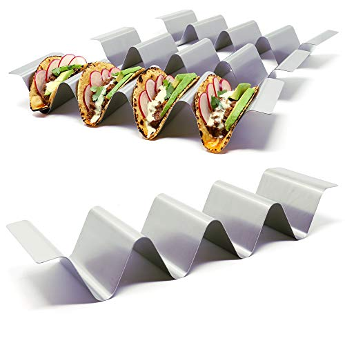 Premium Taco Holder Stands - Set of 4 - Crafted from Food Grade Stainless Steel - Each Rack Holds 4 Tacos/Tortillas - with Handles and Round Groove Design - For Restaurant/Home - By SimpleStainless