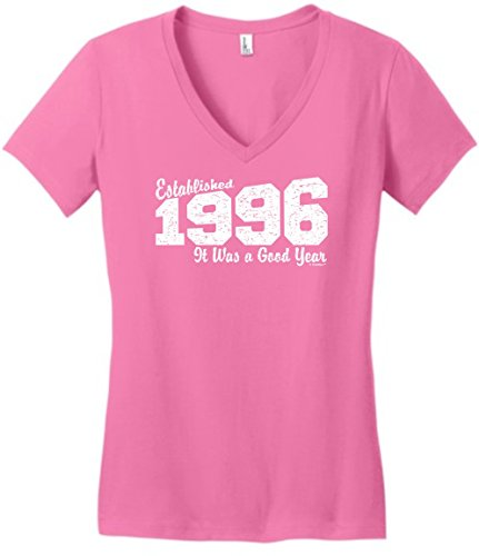 21st Birthday Gifts For Sister Gift Established 1996 Distressed Juniors Vneck Large True Pink