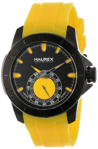 Haurex Italy Men's 3N503UYY Acros Black Ion-Plated Coated Stainless Steel Yellow Rubber Strap Watch by Haurex