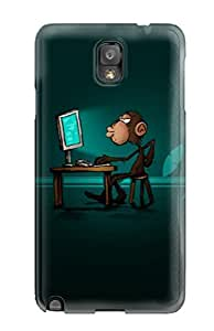New Cute Funny Smart Monkey Computer Pc Green Brown Animal Other Case Cover/ Galaxy Note 3 Case Cover