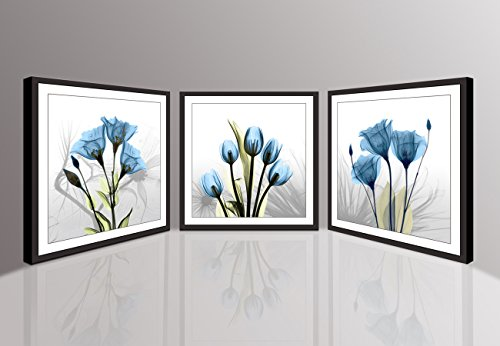 Moyedecor Art 3 Panels Wall Art Flowers Paintings The Picture prints on canvas - Black frame in 4 edges For Home Decor Ready To Hang (Three 16x16in black framed, Blue Flowers prints) by Moyedecor Art