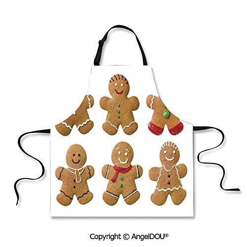 SCOXIXI Durable Polyester Waterproof Apron Vivid Homemade Biscuits Sugary Xmas Treats Sweet Tasty Pastry Decorative for Grill BBQ Cooking Cosplay Party.]()