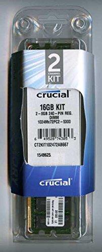 (Crucial Technology CT2CP102472AB667 16 GB (8 GBx2) 240-pin DIMM DDR2 PC2-5300 CL=5 Registered ECC DDR2-667 1.8V 1024Meg x 72 Memory Kit)