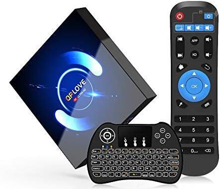 QPLOVE Android 10.0 TV Box 2GB RAM 16GB ROM H616 Quad-Core 64bit Support WiFi-Dual 5G//2.4G BT5.0 Ultra HD 3D 6K H.265 with Mini Wireless Backlight Keyboard