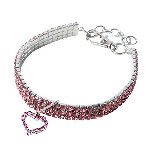 (TTbuy Mini Pet Dog Bling Rhinestone Chocker Collars Fancy Dog Heart Shaped Necklace (M, Pink))