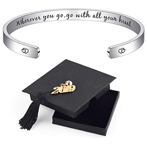 IEFSHINY Graduation Gift for Her Bracelet - Inspirational Quote Mantra Cuff Bangle Bracelet High School College Graduation Gifts for Her Women Teen Girls (Gift Ideas For Best Friends College Graduation)