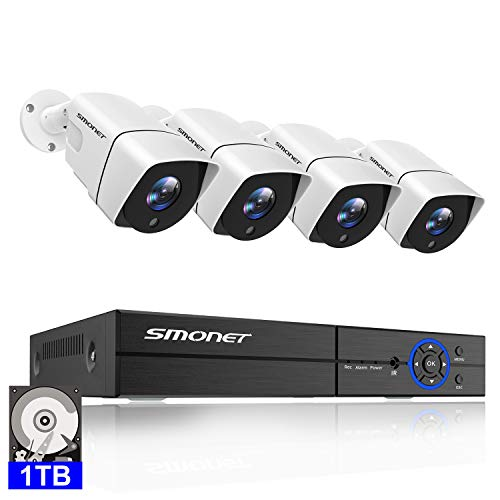 5MP Security Camera System,SMONET 4 Channel 5-in-1 DVR Surveillance Security System with 4pcs 2560X1920P Waterproof Outdoor Security Cameras,1TB Hard Drive Included,Motion Alert,Easy Remote Access