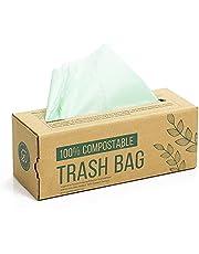 150 compost afvalzak, 6L 8L 10L afvalzak voor keukenafval, 100% afbreekbare afvalzak is gemaakt van maïszetmeel met de certificering volgens de EN13432 (6L)