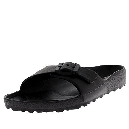 htweight Open Toe Summer Single Strap Slides Sandals - Black - US6/EU37 - PN0100 (Beach Slide)