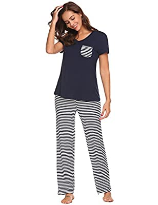 HOTOUCH Womens Pajama Set Striped Short Sleeve Top & Pants Sleepwear Pjs