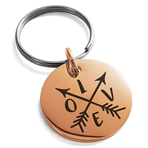 Tioneer Rose Gold Plated Stainless Steel Love Arrow Compass Engraved Small Medallion Circle Charm Keychain Keyring by Tioneer (Image #1)'