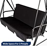 Esright Outdoor Patio Swing Chair, Cnopy Swing with Removable Cushion and Weather Resistant Powder Coated Steel Frame, Suitable for Patio, Garden, Poolside, Balcony