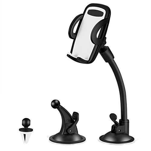 Apsung Mobile Phone Car Mount, 3-in-1 Universal Car Phone Mount, Multifunctional Phone Holder, Cell Phone Car Air Vent Holder, Dashboard Mount, Windshield Mount for iPhone Android and More Devices