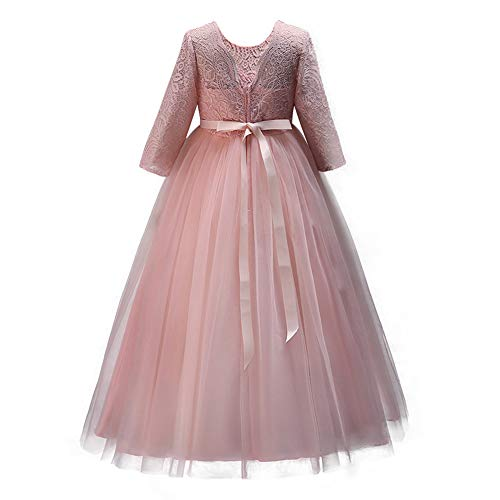 IWEMEK Flower Girls 3/4 Sleeve Lace Tulle Pageant Prom Ball Gown Kid Floor Length Bridesmaid Embroidered Wedding Party First Communion Princess Dress Puffy Dance Evening Long Maxi Dress Z Light Pink ()