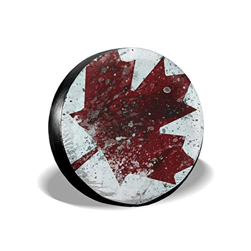 LTcov Grunge Canada Flag Spare Tire Cover Protector Waterproof Dust-Proof Wheel Covers Fit for Jeep Liberty Rv SUV Camper Travel Trailer Accessories 14