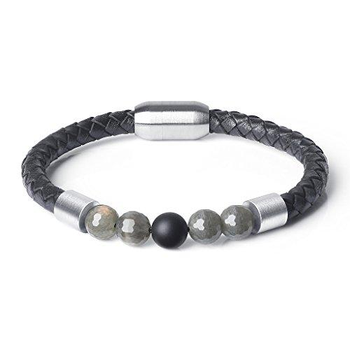 AmorWing Genuine Stones Matte Onyx Labradorite Prayer Mala Beads Leather Bracelet - Onyx Stone Meaning