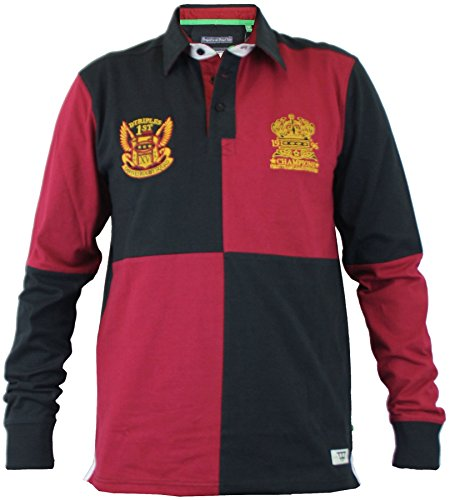 D555 Long Sleeved Four Square Rugby Shirts (Rico) in Black/Red in 3XL