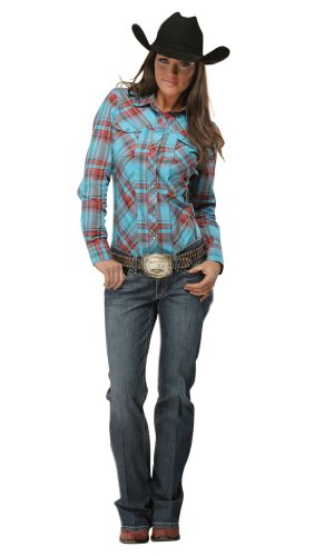 Cruel Girl Western Shirt Womens L/S Plaid Sparkle S Teal CTW9259001