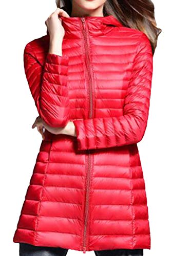 Leggero Red Outwear Donne Giacca Packable Incappucciato Fit Slim Giacche Le BzX7B