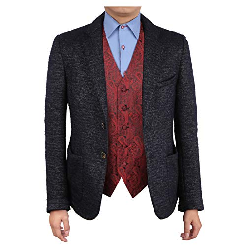 Epoint EGC1B02C-L Red Black Paisley Evening Designer Waistcoat Woven Microfiber Christmas Gift Ideas Large Vest