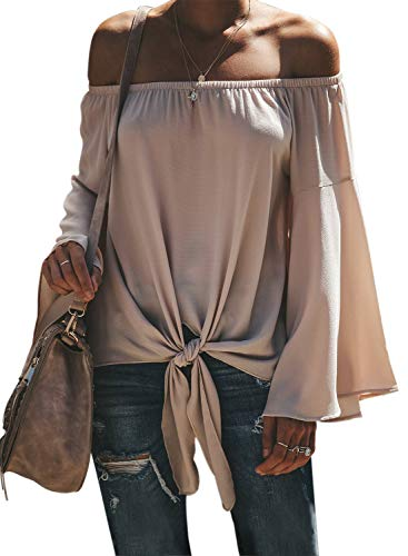 (CILKOO Women's Basic Tee Shirts Long Bell Sleeve Off The Shoulder Front Tie Knot T Shirt Tops Blouse Apricot US12-14 Large)