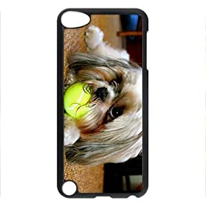 iCustomonline Dog Chewing the Ball Fashion PC Black Skin Hard Case Cover Design for iPod Touch 5