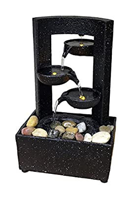 "Natures Mark 12"" H Cascading Black Tier Bowl LED Fountain with Adapter"