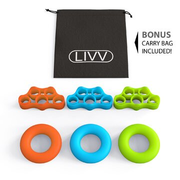 LIVV FITNESS Premium Finger Stretcher and Grip Strength Trainer Kit - Strengthens Fingers, Forearm, Wrist and Grip - 3 Level Finger Resistance Bands and Hand Grip Workout Rings with Carry Bag (6 Pack) by LIVV FITNESS (Image #2)