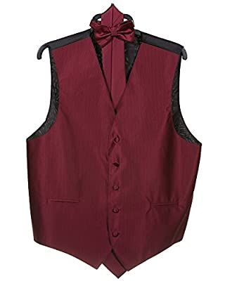 Men's Stripe 4pc Dress Formal Vest Set (Vest, Bow Tie, Necktie, Hanky Set)