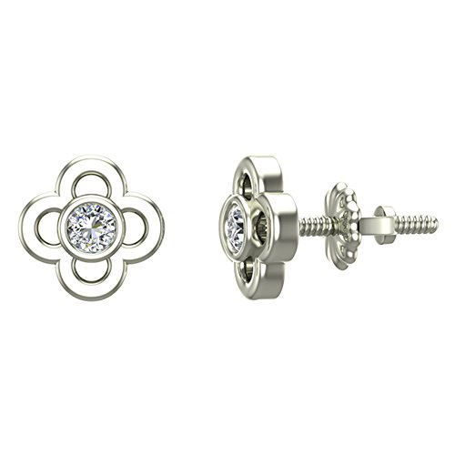 (Diamond Earrings Flower Shape Studs 10K White Gold - Bezel Setting Screw Back Posts (0.10 carat total))