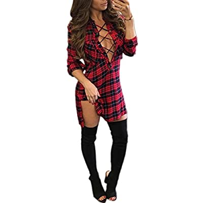 M2MO Womens Plaid Long Sleeve Sexy Bandage Deep V Neck Shirt Dress
