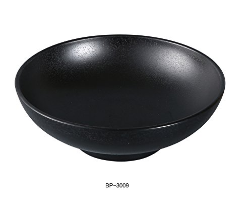 Yanco Asian Style Black Pearl Melamine with Matting Surface 9'' X 3 1/4'' NOODLE BOWL 48 OZ box of 24 by Yanco
