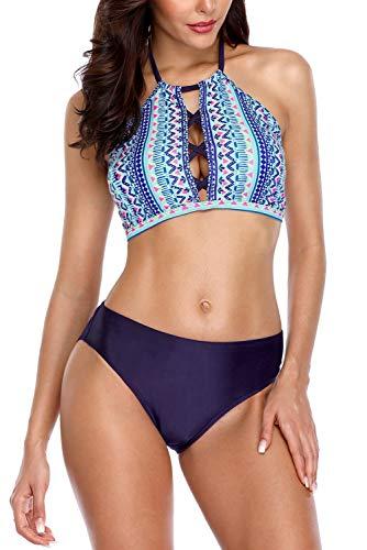 Vegatos Women High Neck Crop Bikini Swimsuit Cut Out 2 Piece Padded Beachwear XL