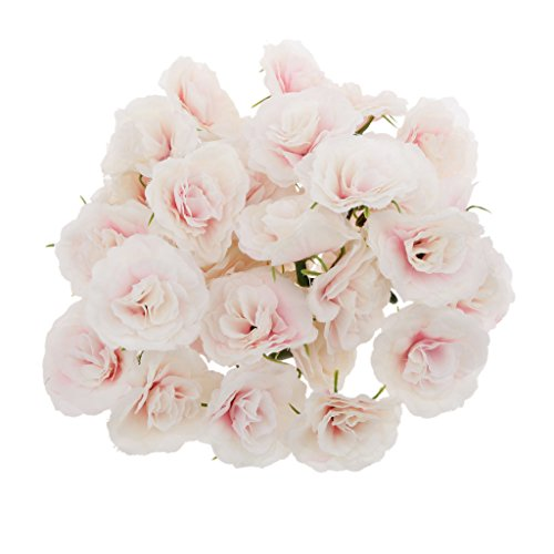 MagiDeal Artificial Faux Silk Rose Flower Heads Bulk Wedding Party Decor Pink WHT Pack of 50