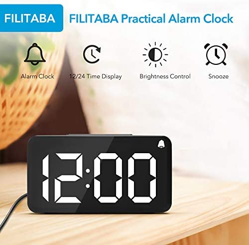 FILITABA Digital Alarm Clock, 6 LED Screen Display, Wood Grain, 6 Brightness, Snooze, 12 24H, Easy Digital Clock with Adapter for Kids and Adults, Alarm Clocks for Bedrooms, Office, Desk