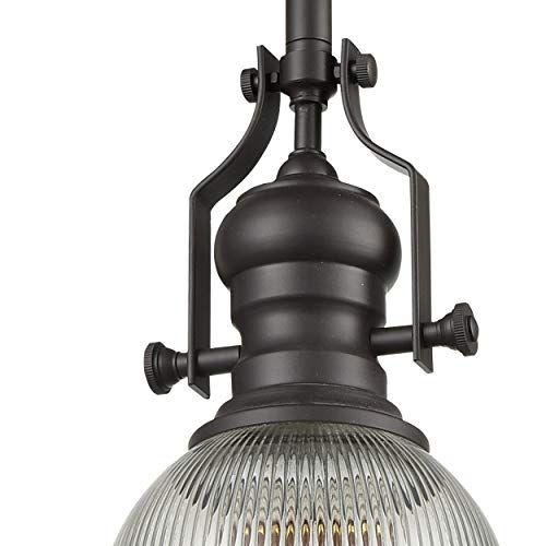 WILDSOUL 20061OB Contemporary Classic Ribbed Glass Pendant Light, LED Compatible Vintage Modern Farmhouse Kitchen Ceiling Lighting Fixture with Bulb, Sloped Ceiling Adapter, Stem-Mount, Oiled Bronze