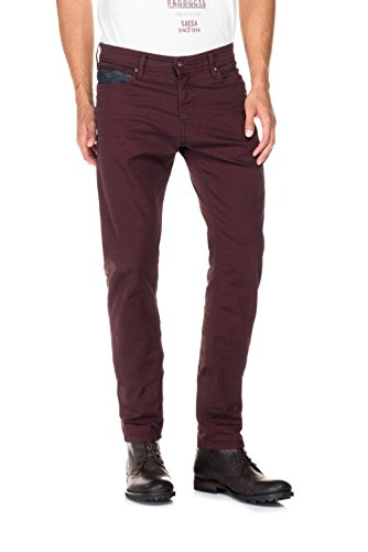 Salsa - Pantalons Slender en serge avec détail en simili cuir - Homme