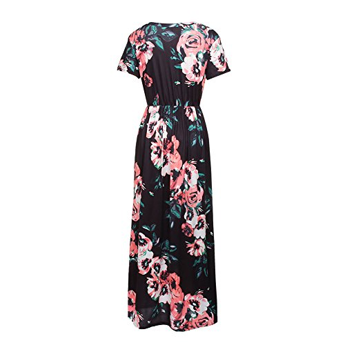 Printed Casual 5XL Pockets Long S Dress Maxi with Women's Short Floral HOOYON Black qt1HwFRR