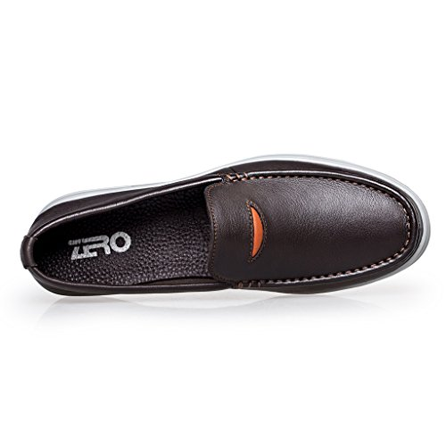 ZRO Mens Moc Toe Leather Slip-On Loafer Casual Shoes Breathable Brown IC7aOvN