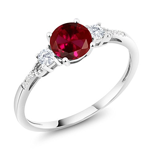 Gem Stone King 10K White Gold Diamond Accent 3-stone Engagement Ring set with Red Created Ruby White Created Sapphire 1.15 cttw (Size 8)