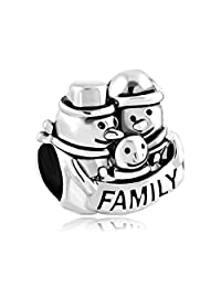 Mom Mother Family Love Gift Silver Plated Bead Fit Pandora Charm Bracelet