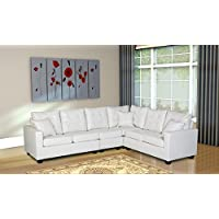 Oliver Smith - Large White Leather Modern Contemporary Upholstered Quality Sectional Left or Right Adjustable Sectional 103 x 81 x 35 s287white