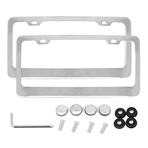 X AUTOHAUX 2 Pcs Stainless Steel Car Front Rear 2 Hole License Plate Frame Holder w/Screw Caps - Silver Tone (Silver Tone Plate)