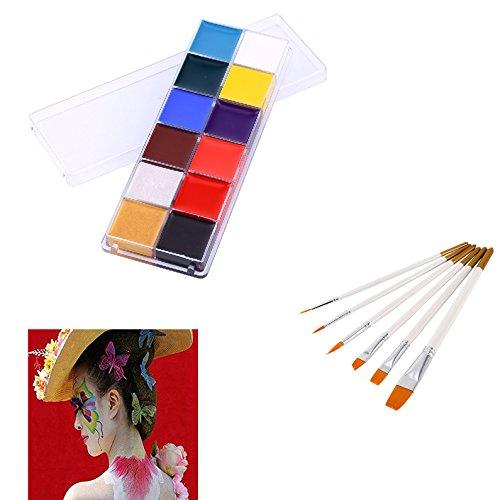 Face & Body Painting Oil Painting Art MakeUp Kit Halloween Party Fancy Dress 12 Color+Nylon Hair Flat Pointed Tip Art Artists Paint Brush 6PCS/Set ()
