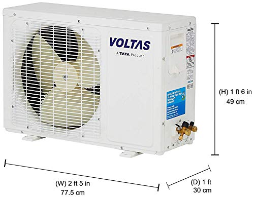 Voltas 1 Ton 3 Star Split AC (Copper SAC_123_DZX White) 2021 August Split AC with non-inverter compressor: Low noise. Affordable compared to inverter split ACs Capacity: 1 Ton. Suitable for small sized rooms (< = 110 sq ft) Energy Rating: 3 Star. Annual Energy Consumption: 775.65 units. ISEER Value: 3.51 (Please refer energy label on product page or contact brand for more details)