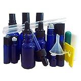 BEKCo 18 Piece Essential Oil Cobalt Blue Glass Bottles Variety Pack - 10ml Roller Bottles, 5ml Roller Bottles, 30ml Misting Bottles, 15ml Dropper Bottles, 1ml Reducer Bottles : Free Accessories