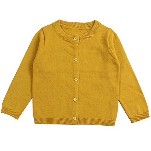 Wennikids Baby Girls' Little Knit Cardigan Button Sweater for 12M-6T 3X-Large (Yellow Kids Sweater)